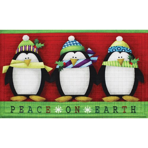 Kohls clipart christmas image freeuse download St. Nicholas Square® Penguin \'\'Peace on Earth\'\' Doormat - 18 ... image freeuse download