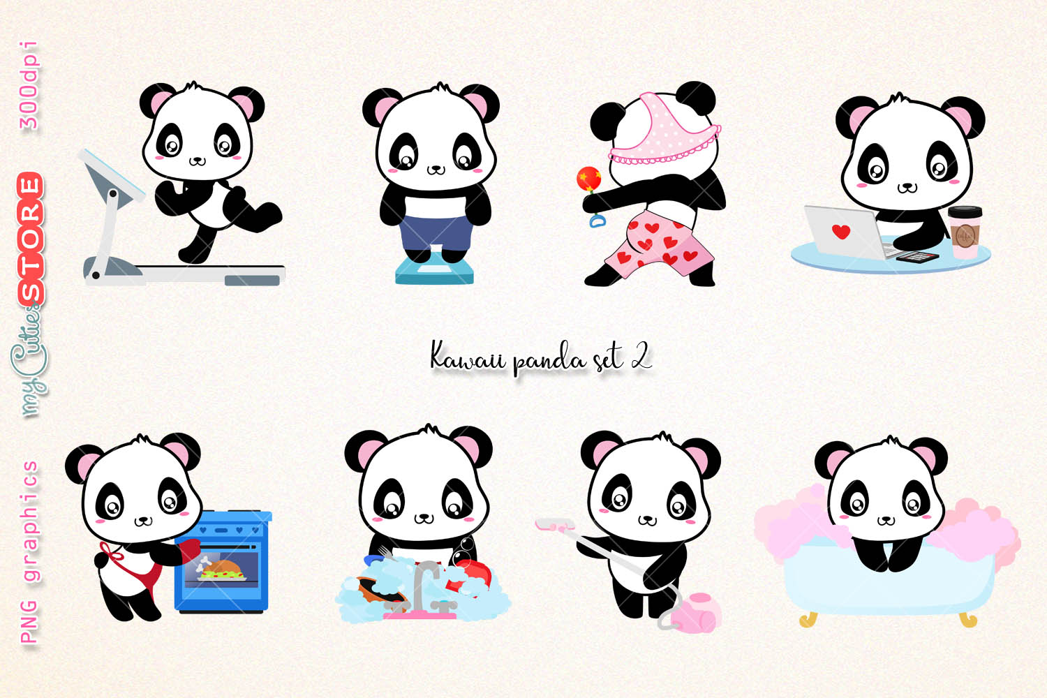 Kok clipart clip art freeuse download Kawaii panda clipart, PNG graphics collection, treadmill, weight scale,  cooking, wash dishes clip art great for planner stickers or digital  planning. clip art freeuse download