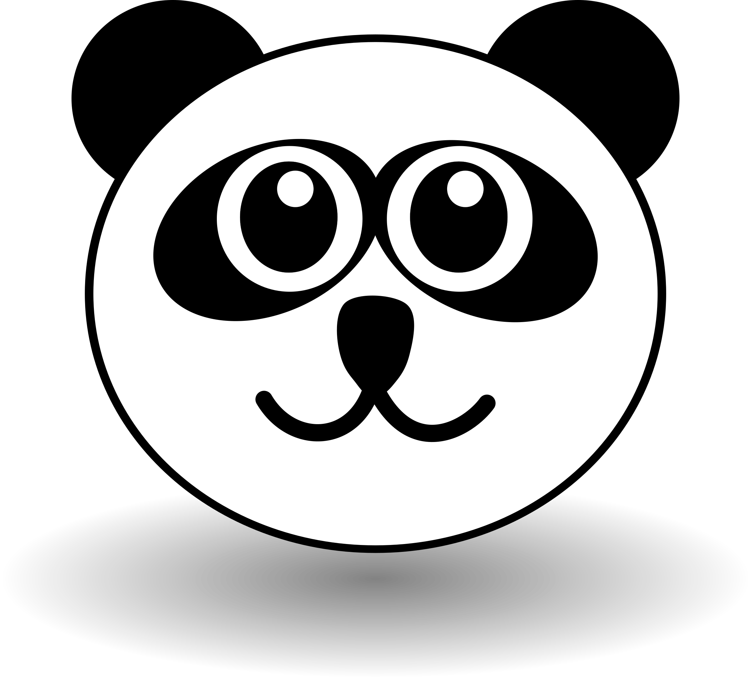 Smiling snowflake clipart svg stock Clipart - Funny panda face black and white svg stock