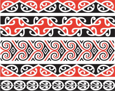 Kowhaiwhai patterns clipart