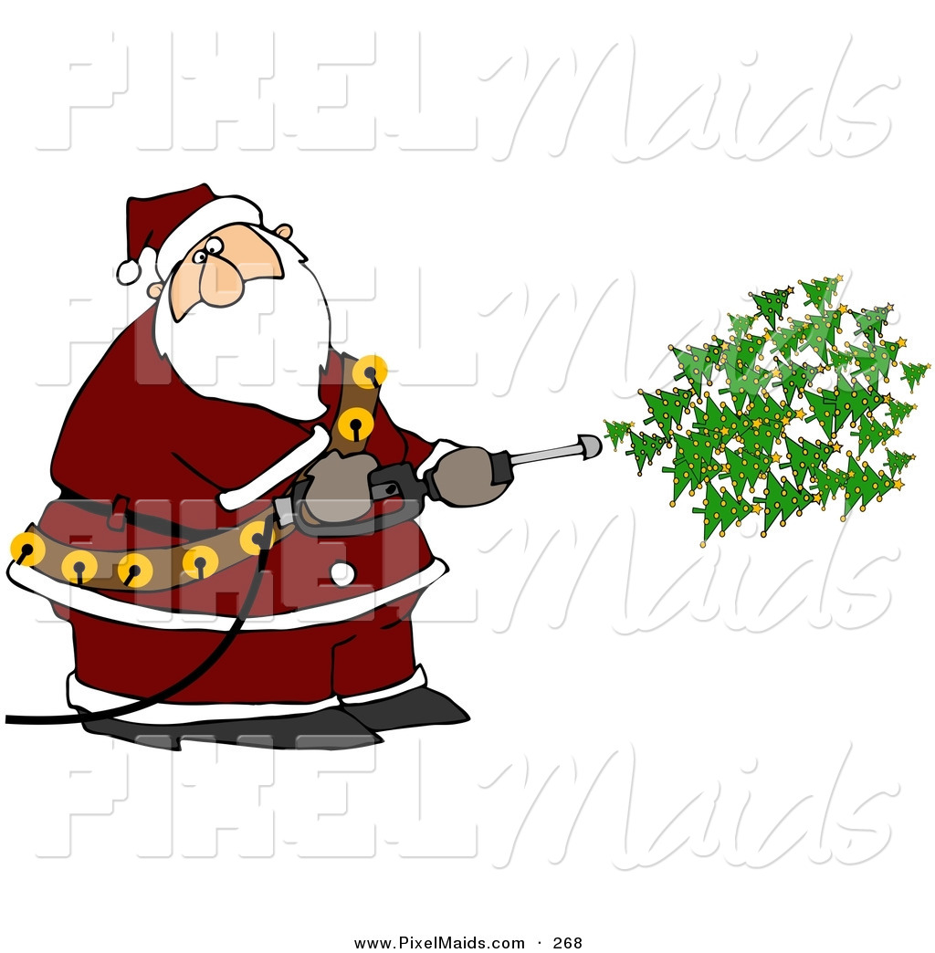 Kris kringle clipart clip art library library Clipart of a Kris Kringle Spraying Christmas Trees out of a Pressure ... clip art library library