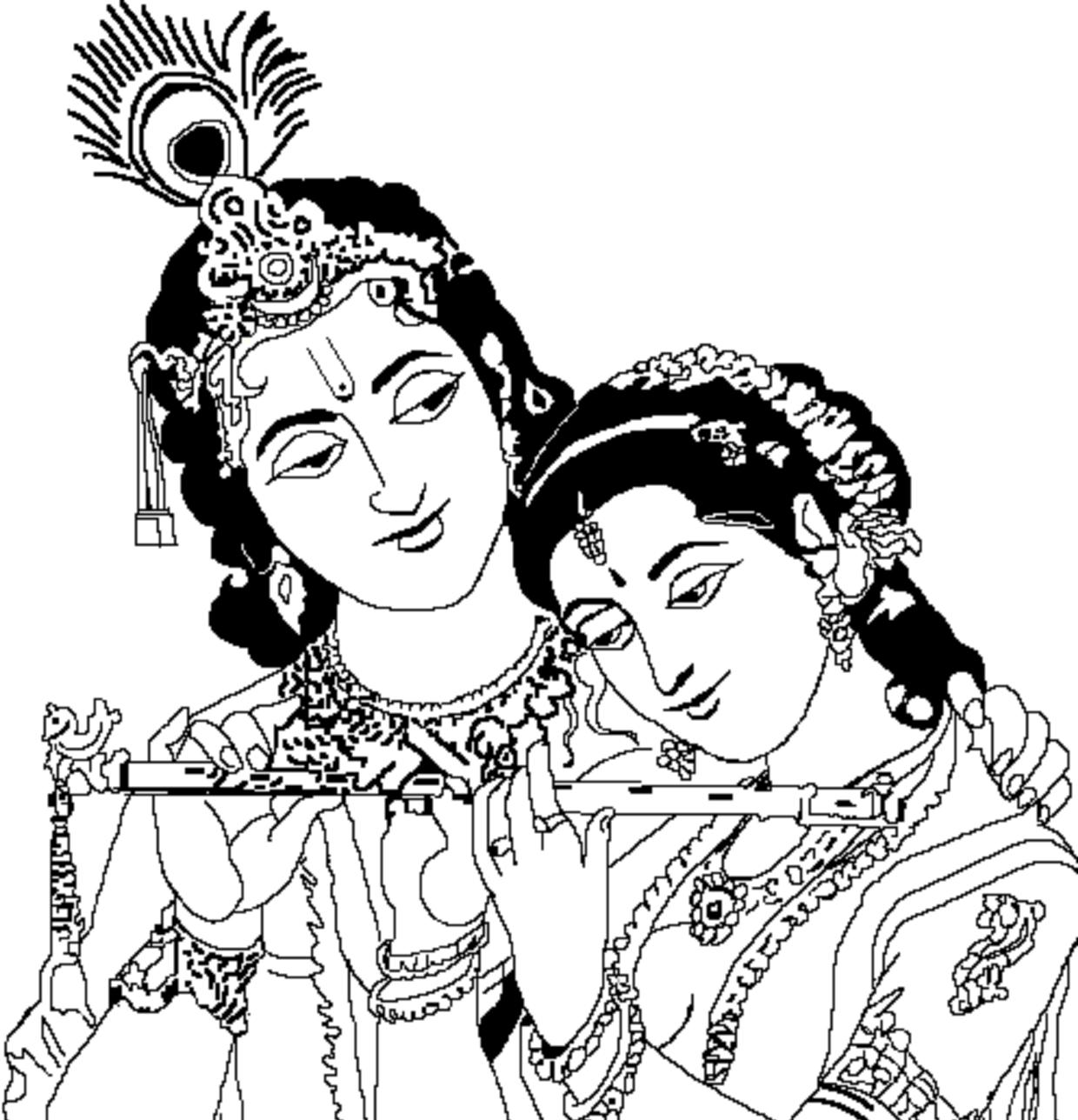 Krishna image clipart clip art royalty free Radha Krishna Black And White PNG Transparent Radha Krishna Black ... clip art royalty free