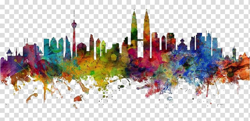 Kuala lumpur clipart black and white library Multicolored buildings abstract painting, Kuala Lumpur Canvas print ... black and white library