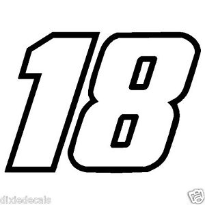"Kyle busch clipart clip art black and white library 4"" Kyle Busch Number 18 Window Decals Vinyl Stickers 2 color ... clip art black and white library"