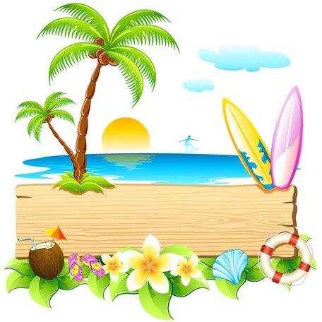 La playa clipart free download Imágenes clip art y gráficos vectoriales vacaciones en la playa de ... free download