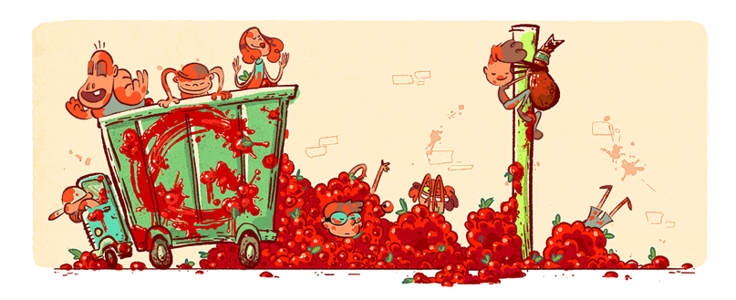 La tomatina clipart clipart library download La Tomatina 70th Anniversary Celebrated in New Google Doodle | Time clipart library download