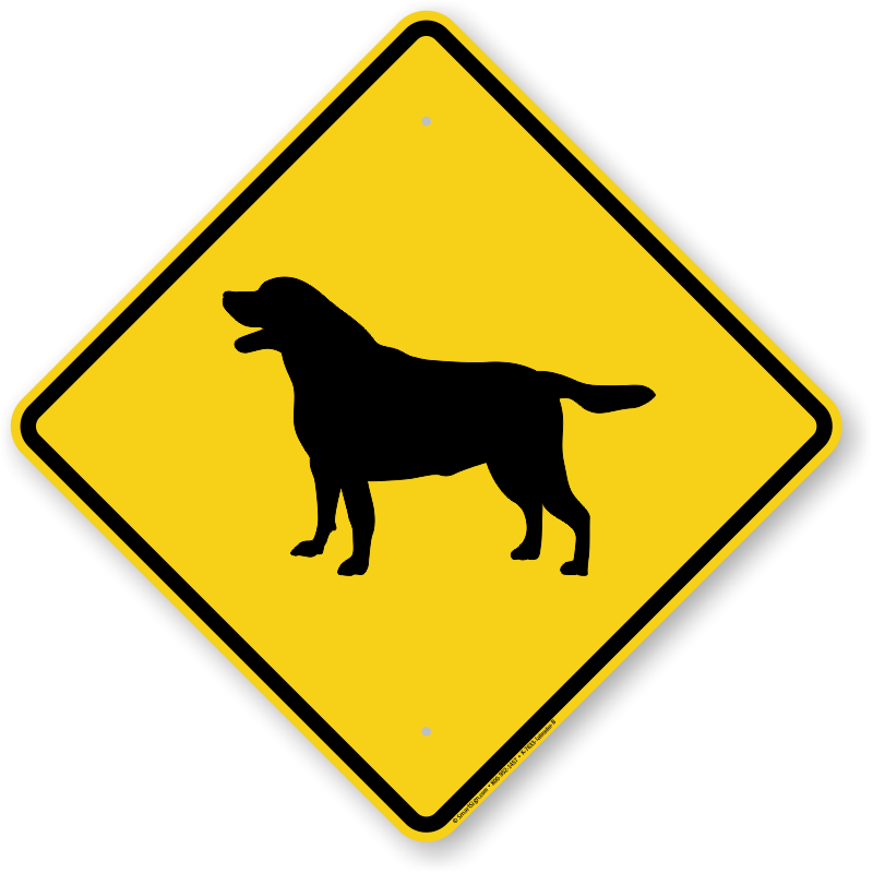Lab clipart dog clipart black and white library Dog Breed Crossing Signs | Dog Crossing Signs by Breed clipart black and white library
