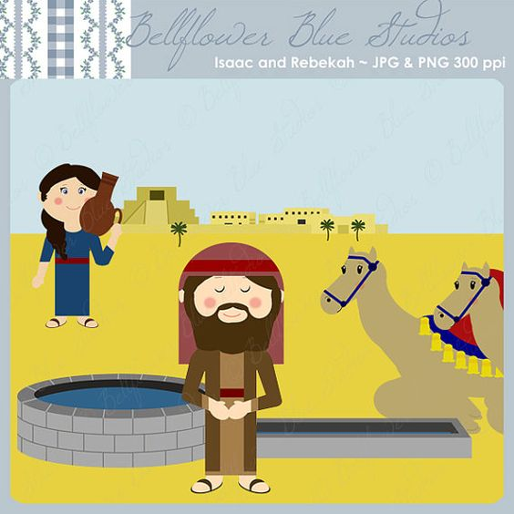 Laban clipart clipart freeuse Isaac and Rebekah Digital Clipart by BellflowerBlueStudio - Clip Art ... clipart freeuse