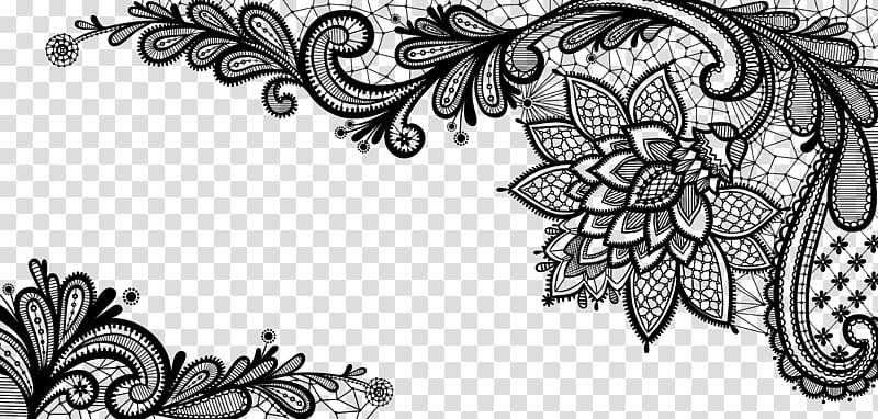 Lace border clipart png royalty free stock Lace , Black French Floral Border , black floral ... png royalty free stock