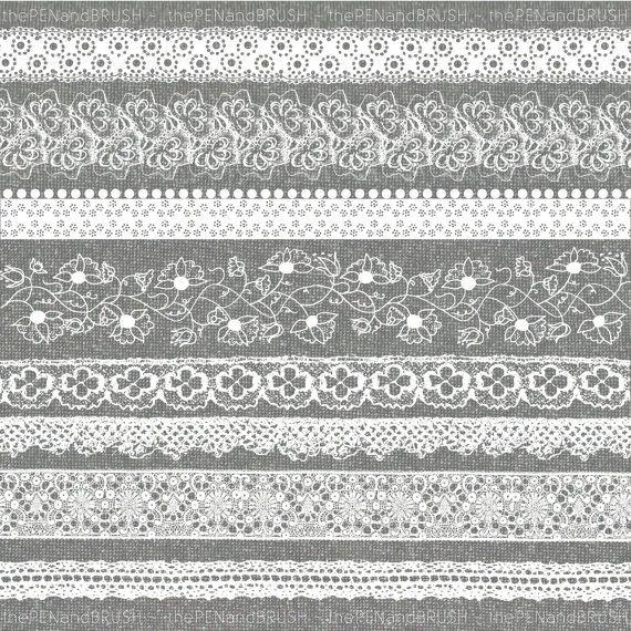 Lace ribbon clipart clip art free download Lace Borders Clip Art Set // Beautiful Vintage Lace Ribbon ... clip art free download