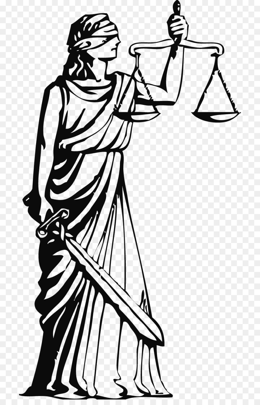 Lady justice clipart jpg black and white Lady Justice Clothing png download - 768*1381 - Free ... jpg black and white