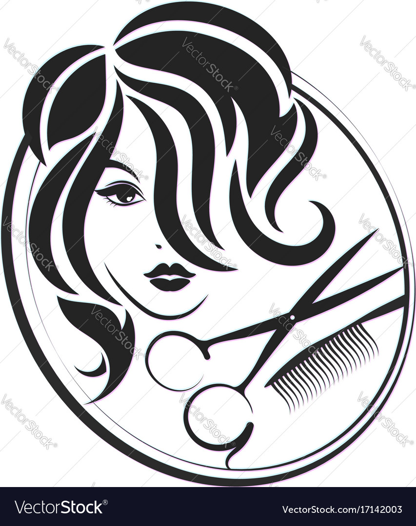 Lady running with scissors black and white clipart graphic library Girl and scissors for beauty salon graphic library