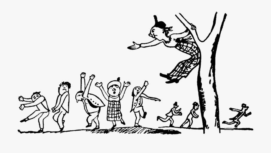 Lady running with scissors black and white clipart clipart Black White Drawing Vintage - Children Dancing Cartoon ... clipart