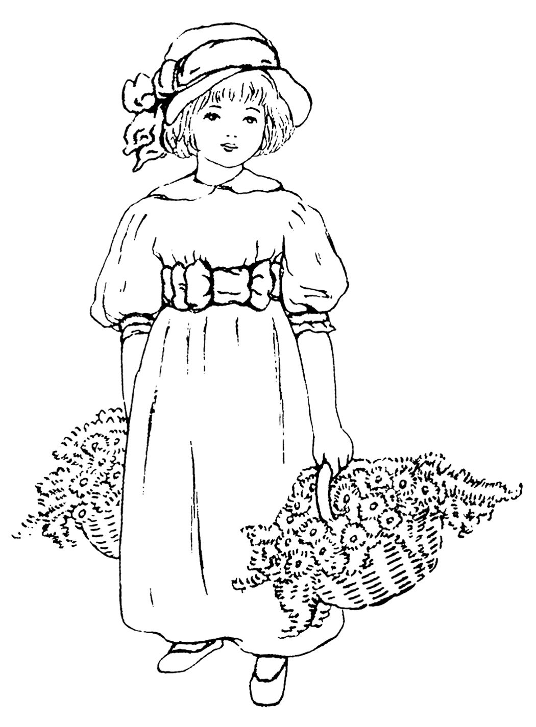 Lady running with scissors black and white clipart clip art royalty free Black & white clip art ~ little girl with baskets of flowers ... clip art royalty free