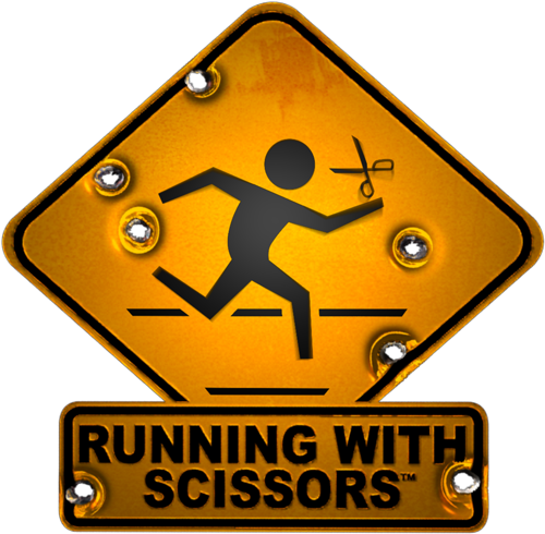 Lady running with scissors black and white clipart clip art stock Home - Running With Scissors clip art stock