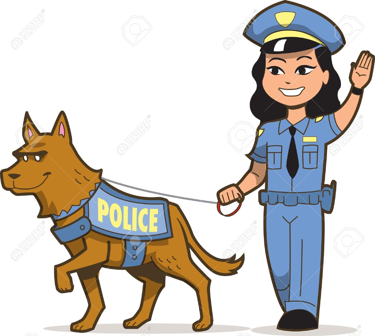 Lady security guard clipart jpg free library K-9 Police Dog And Asian Female Police Officer Royalty Free ... jpg free library