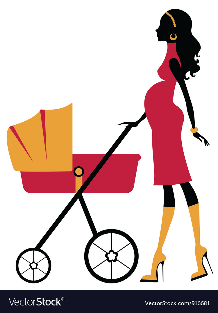Lady with stroller clipart