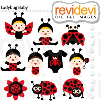 Ladybug baby clipart clip royalty free library Ladybug Baby clip art (cute babies in ladybug costumes) red, black, polkadot clip royalty free library