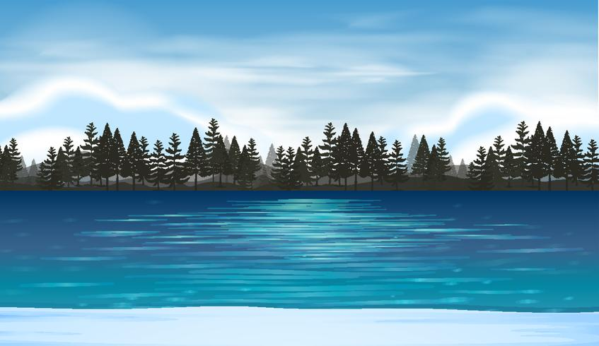 Lake scene background clipart jpg Lake scene with pine forest in background - Download Free ... jpg