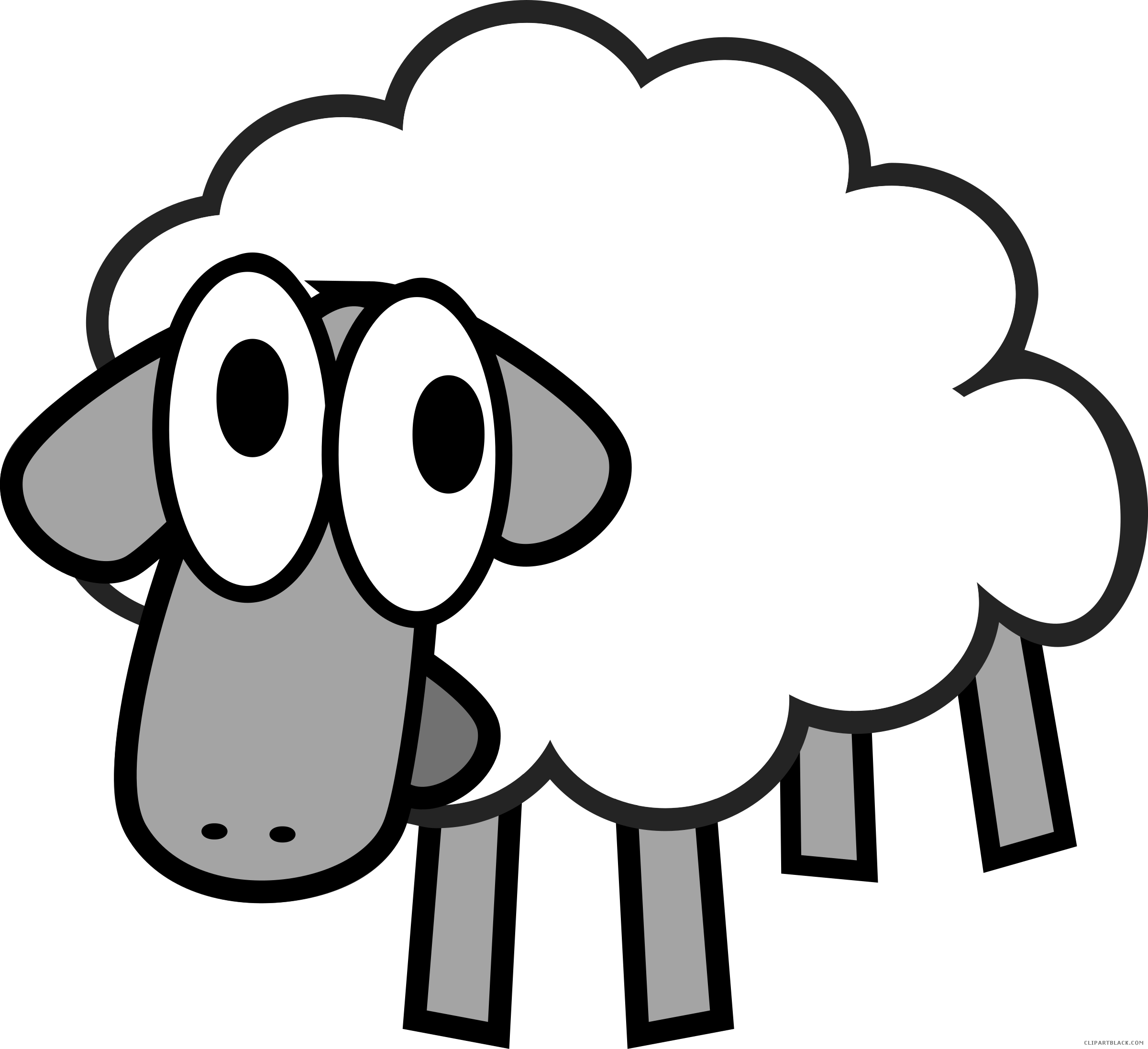 Turkey as a sheep clipart free stock Cartoon Sheep Animal free black white clipart images clipartblack ... free stock