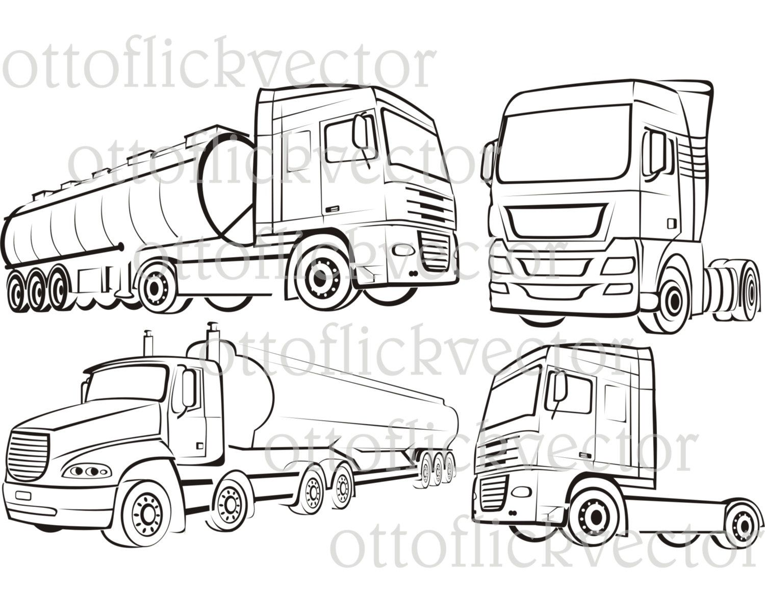 Land for production clipart black and white outline transparent stock TRUCK, TIR, LORRY silhouettes and vector outlines, vector ... transparent stock