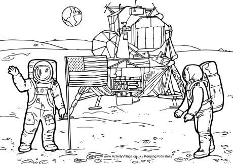 Landing on the moon clipart black and white png royalty free download Wk 21 - Moon landing coloring page | Learn_History_USA ... png royalty free download