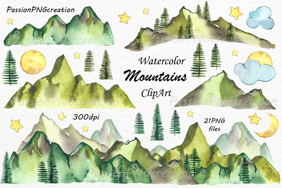 Landscape clipart files library Watercolor Mountains Clipart library