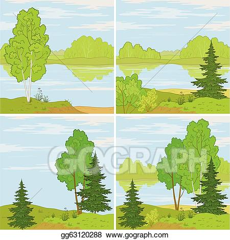 Landscapes clipart svg royalty free Vector Art - Set forest landscapes. Clipart Drawing ... svg royalty free