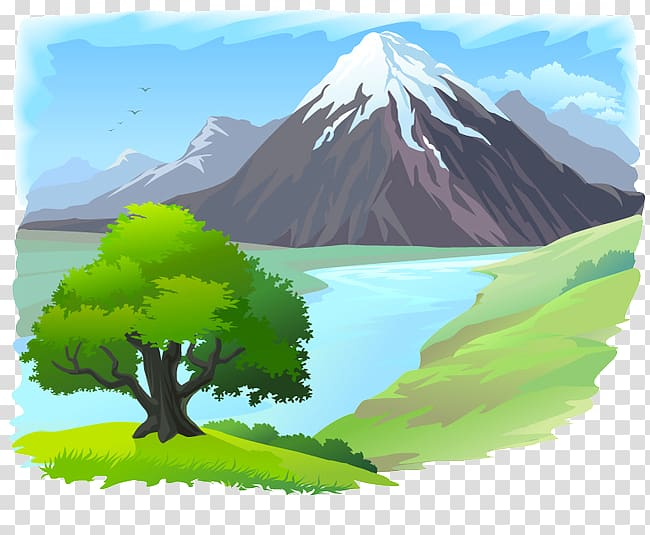 Landscapes clipart png free library Mountain river , Hand-painted oil landscapes transparent ... png free library