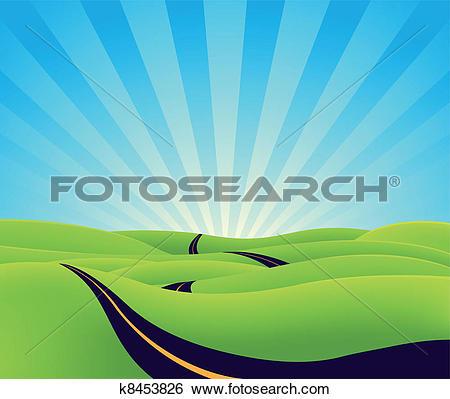 Langer weg clipart clip Clip Art of Long Journey Through The Country k8453826 - Search ... clip