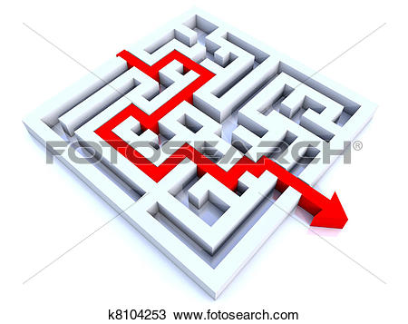 Langer weg clipart jpg free stock Stock Photo of long red arrow on the way throught a labyrith ... jpg free stock