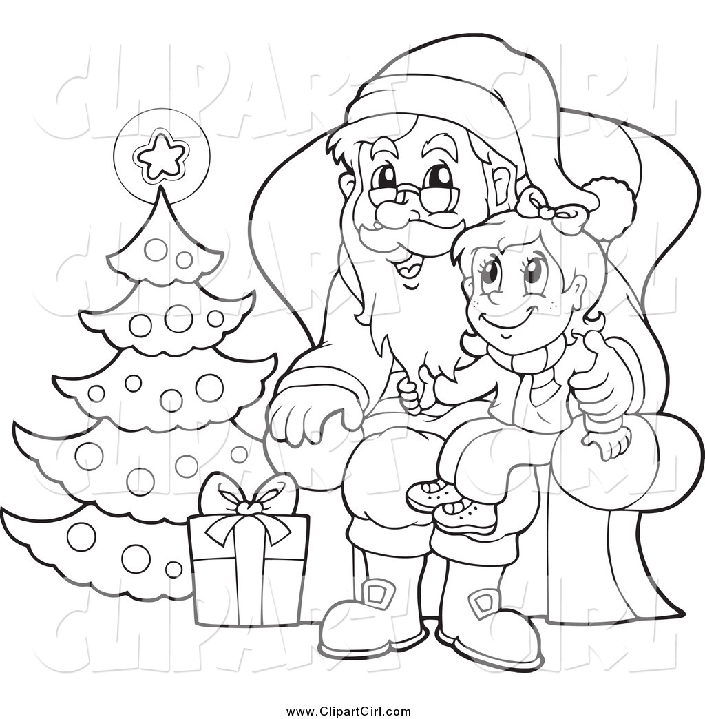 Lap clipart black and white picture transparent library Clip Art of a Black and White Christmas Girl Sitting on Santas Lap ... picture transparent library