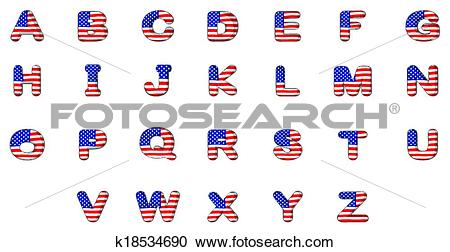 Clipart of Letters of the alphabet with the American flag ... clip transparent