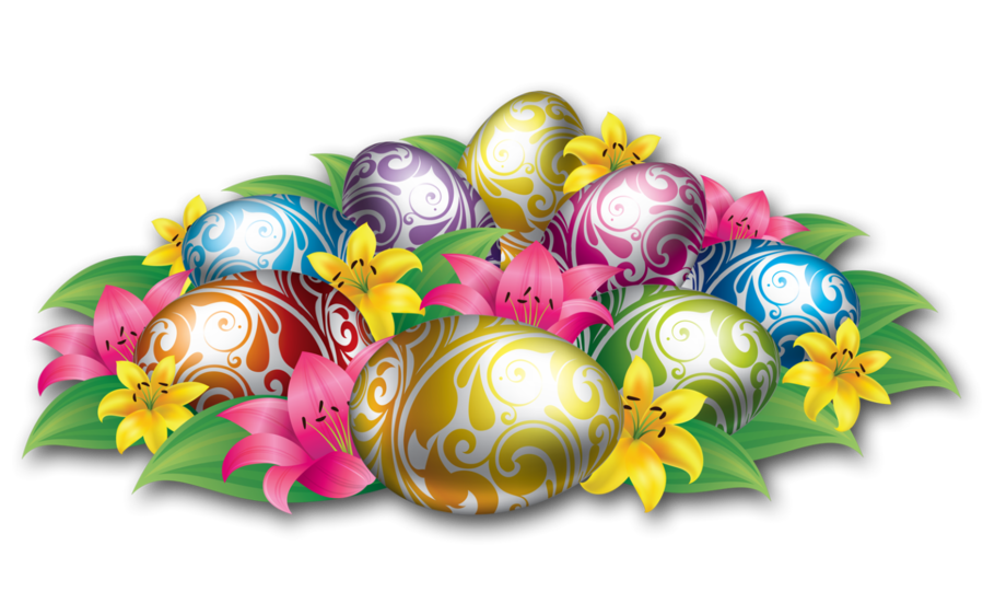 Large easter egg clipart clipart royalty free stock Large Easter Eggs With Flowers and Grass clipart royalty free stock
