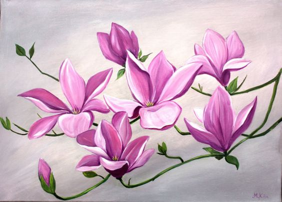 Large picture of flowers png library Large Flower Painting Acrylic Silver Grey Pink by Melsfineart ... png library