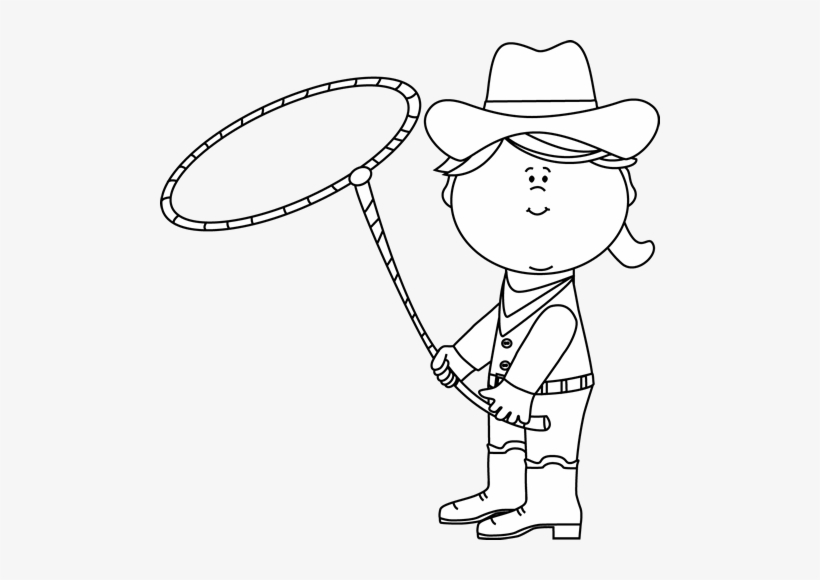 Lasso clipart black and white jpg library stock Black And White Cowgirl With A Lasso Clipart - Cowboy - Free ... jpg library stock