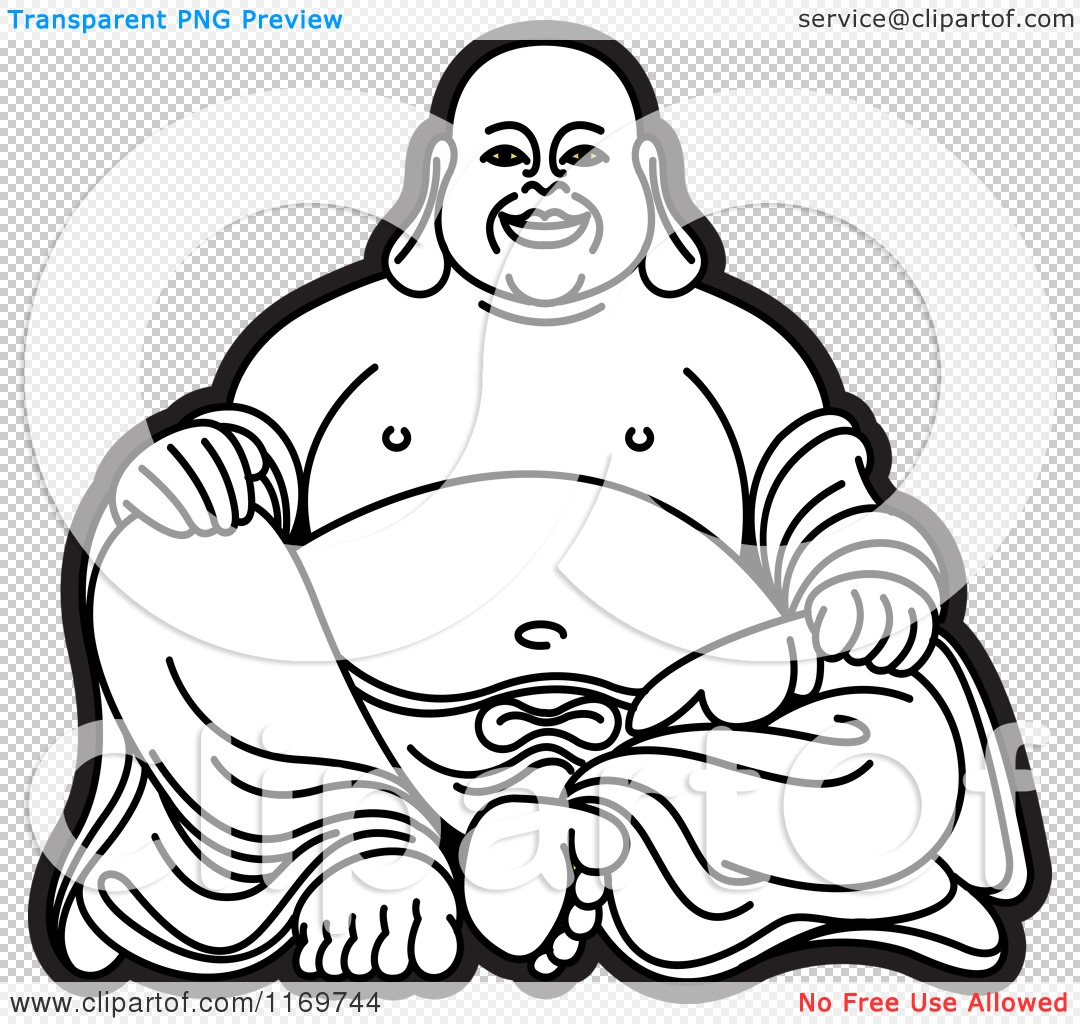 Laughing buddha clipart picture royalty free download Clipart of a Black and White Laughing Buddha 2 - Royalty Free ... picture royalty free download