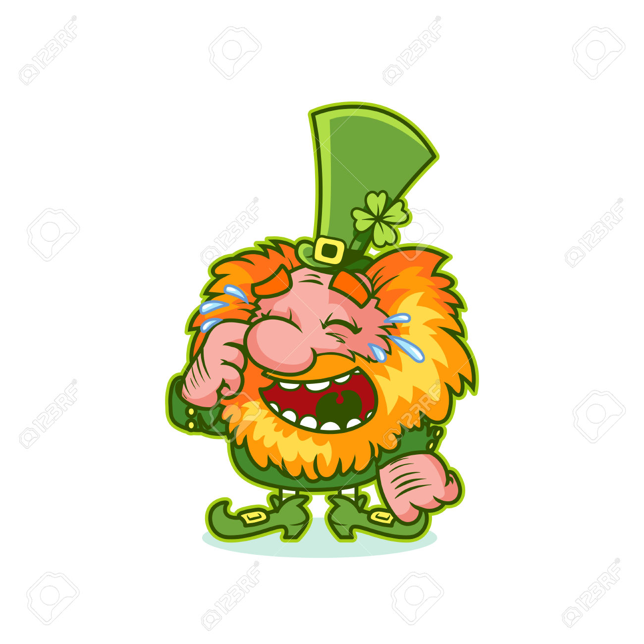 Laughing character clipart clip art royalty free Laughing Leprechaun In Green Costume. Funny Cartoon Character ... clip art royalty free
