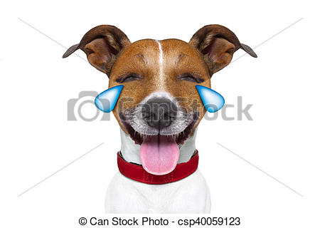 Laughing dog clipart image black and white Stock Photo of emoticon or Emoji dumb crying laughing dog - jack ... image black and white