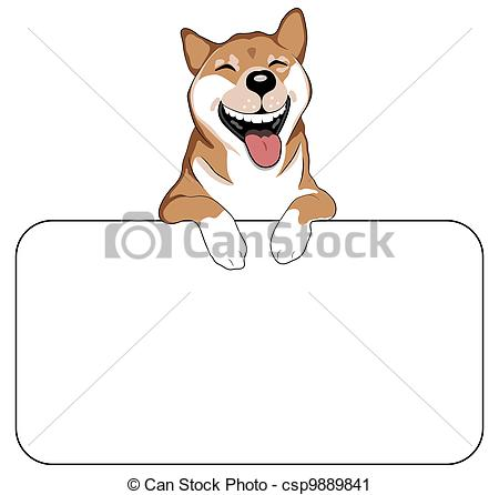 Laughing dog clipart clip free Clipart of Laughing Dog Sign - An illustration of a laughing Shiba ... clip free