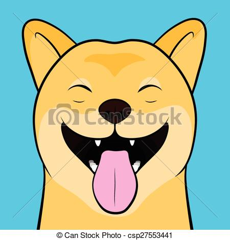 Laughing dog clipart svg black and white download EPS Vector of Laughing Cartooned Face of a Shiba Inu Dog - Close ... svg black and white download