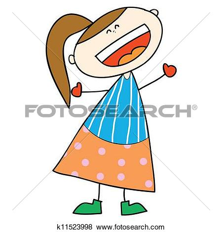 Laughing girl clipart clip stock Clip Art of happy girl cartoon laughing hand drawn k11523998 ... clip stock
