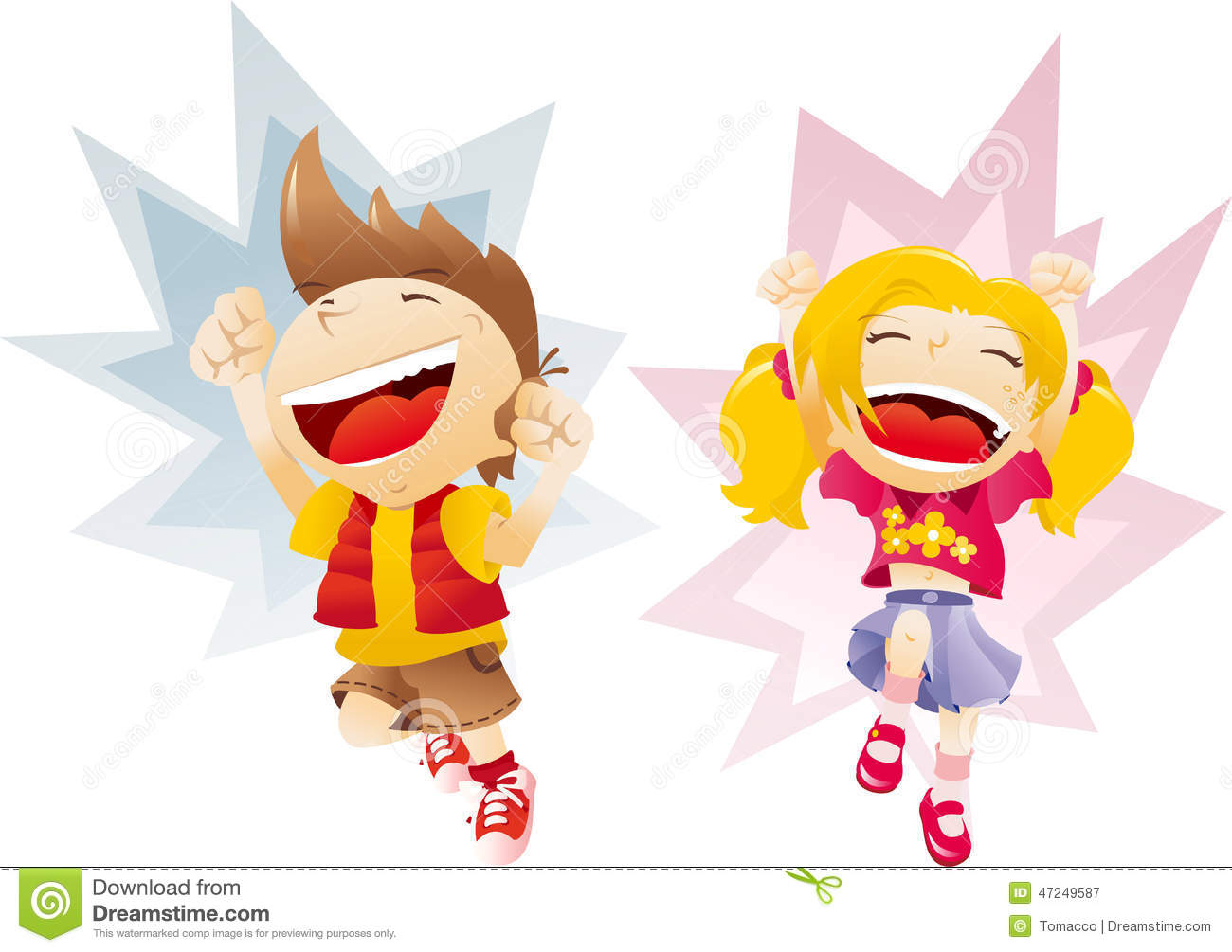 Laughing happy girl clipart png stock Boy And Girl Jumping Laughing Happy Children Stock Illustration ... png stock