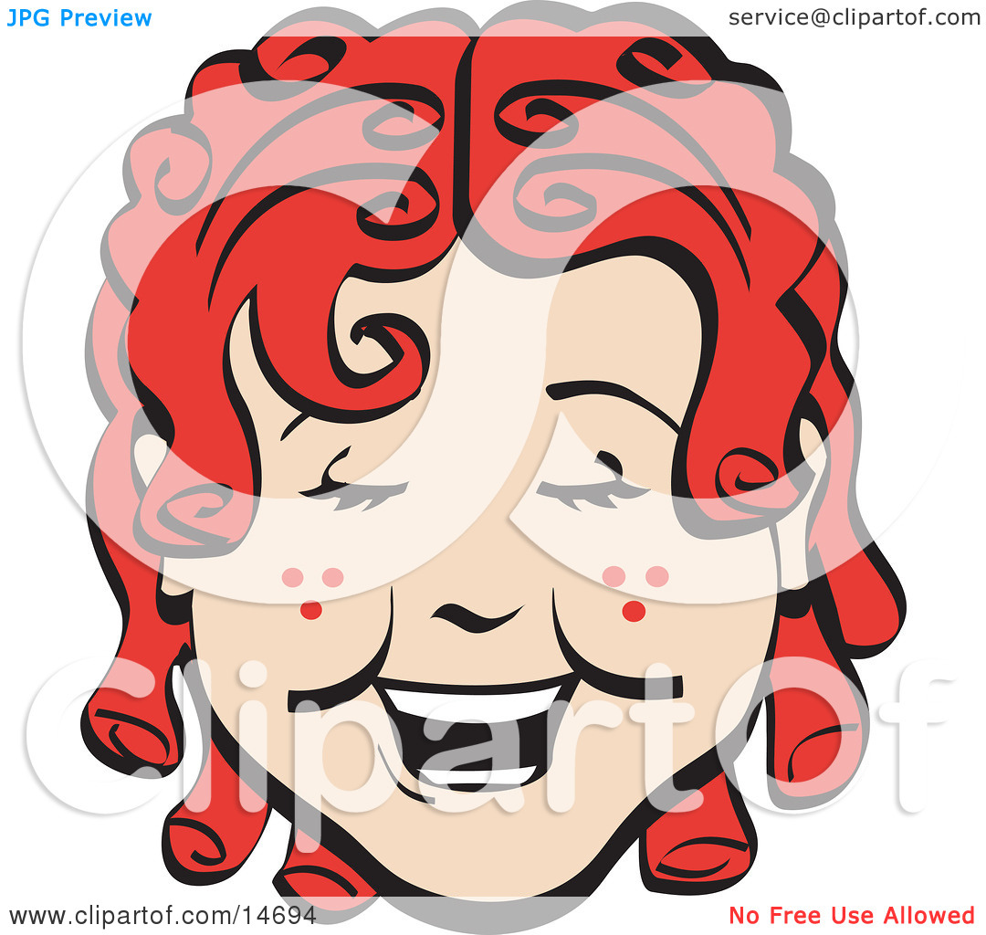 Laughing happy girl clipart image free library Happy Curly Red Haired Girl With Freckles, Laughing Retro Clipart ... image free library