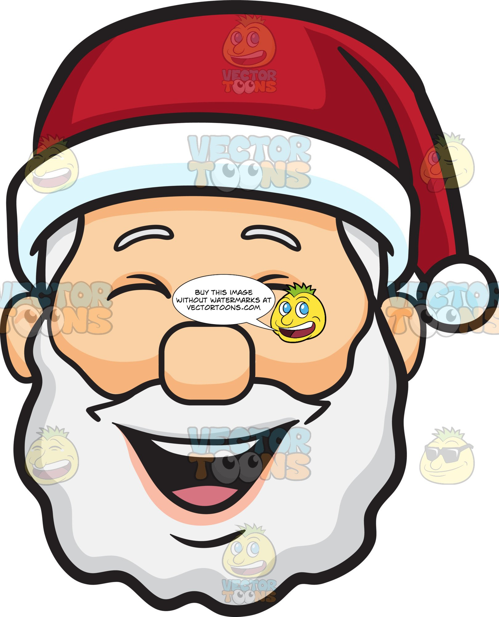 Laughing santa clipart banner black and white stock A Laughing Face Of Santa Claus banner black and white stock
