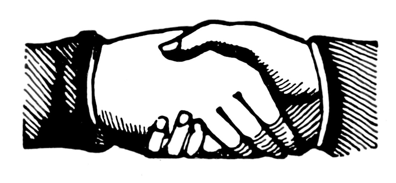 Laugphing and shaking hands clipart black an white vector transparent library Free Shaking Hands Cliparts, Download Free Clip Art, Free Clip Art ... vector transparent library