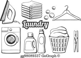 Laundry basket black and white clipart jpg library download Laundry Basket Clip Art - Royalty Free - GoGraph jpg library download