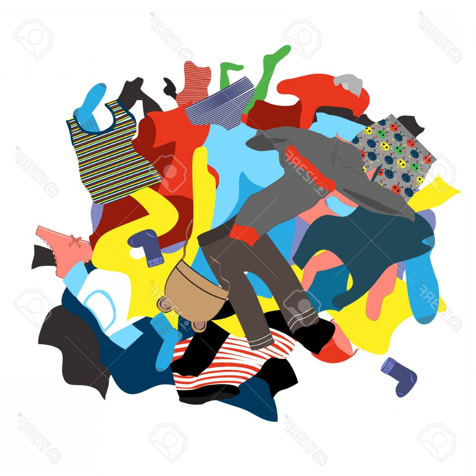 Laundry pile clipart vector library stock Photostock Vector Illustration Featuring A Messy Pile Of Dirty ... vector library stock