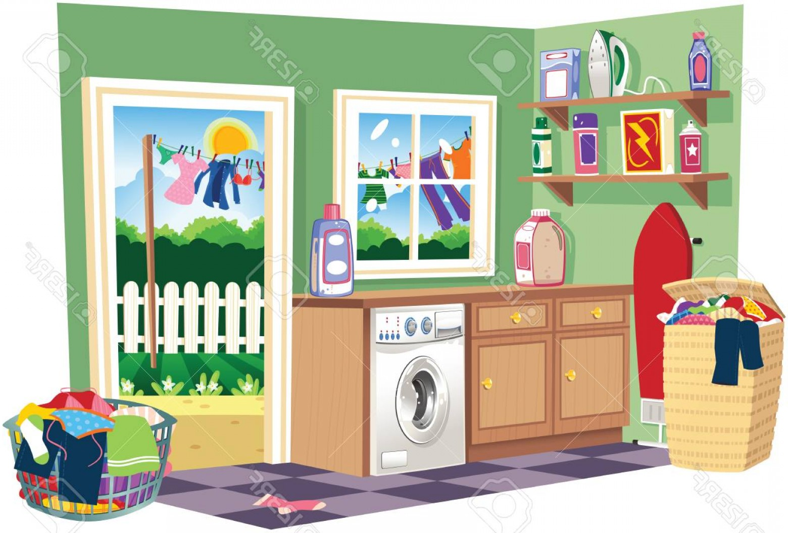 Laundry room clipart graphic royalty free library Photostock Vector A Cutaway Illustration Of A Laundry Room On ... graphic royalty free library
