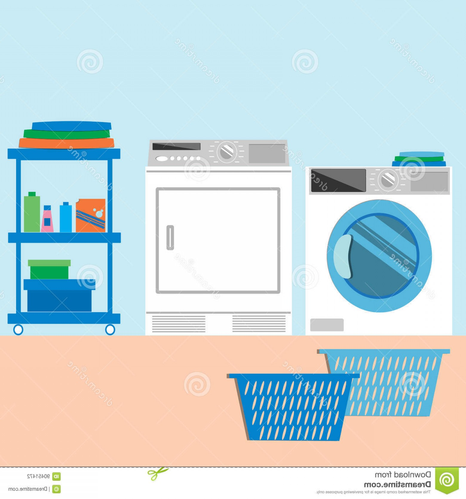 Laundry room clipart image black and white library Stock Illustration Laundry Room Flat Style Vector Illustration ... image black and white library